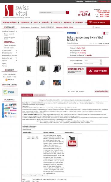 Obsługa sklepu internetowego Swiss Vital - boksy transportowe