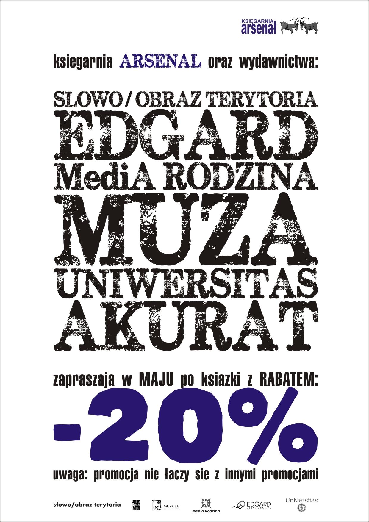 Plakat Promocja księgarnia Arsenał - 20% rabatu w maju
